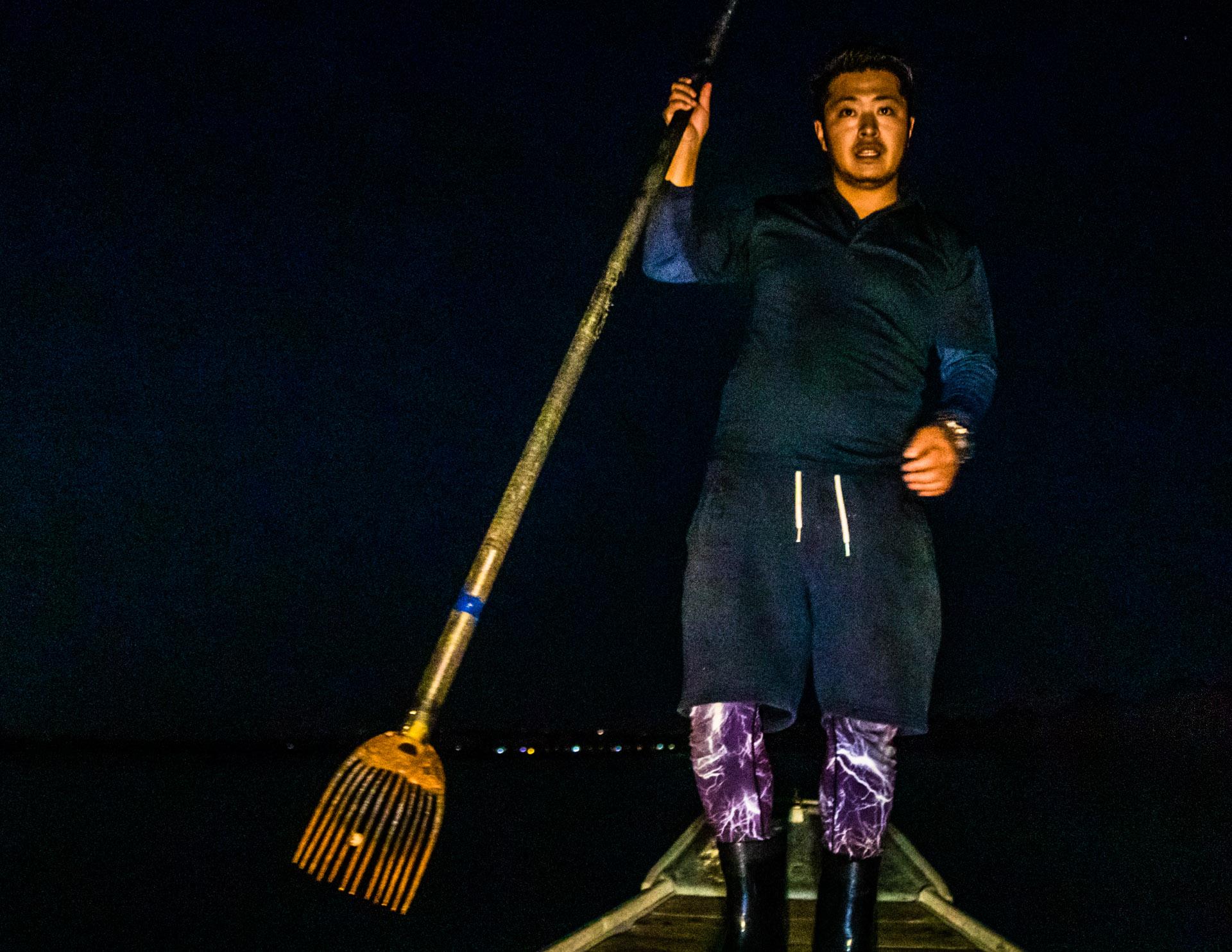 Takiya-ryo spearfishing on lake Hanama, Hamamatsu, Japan