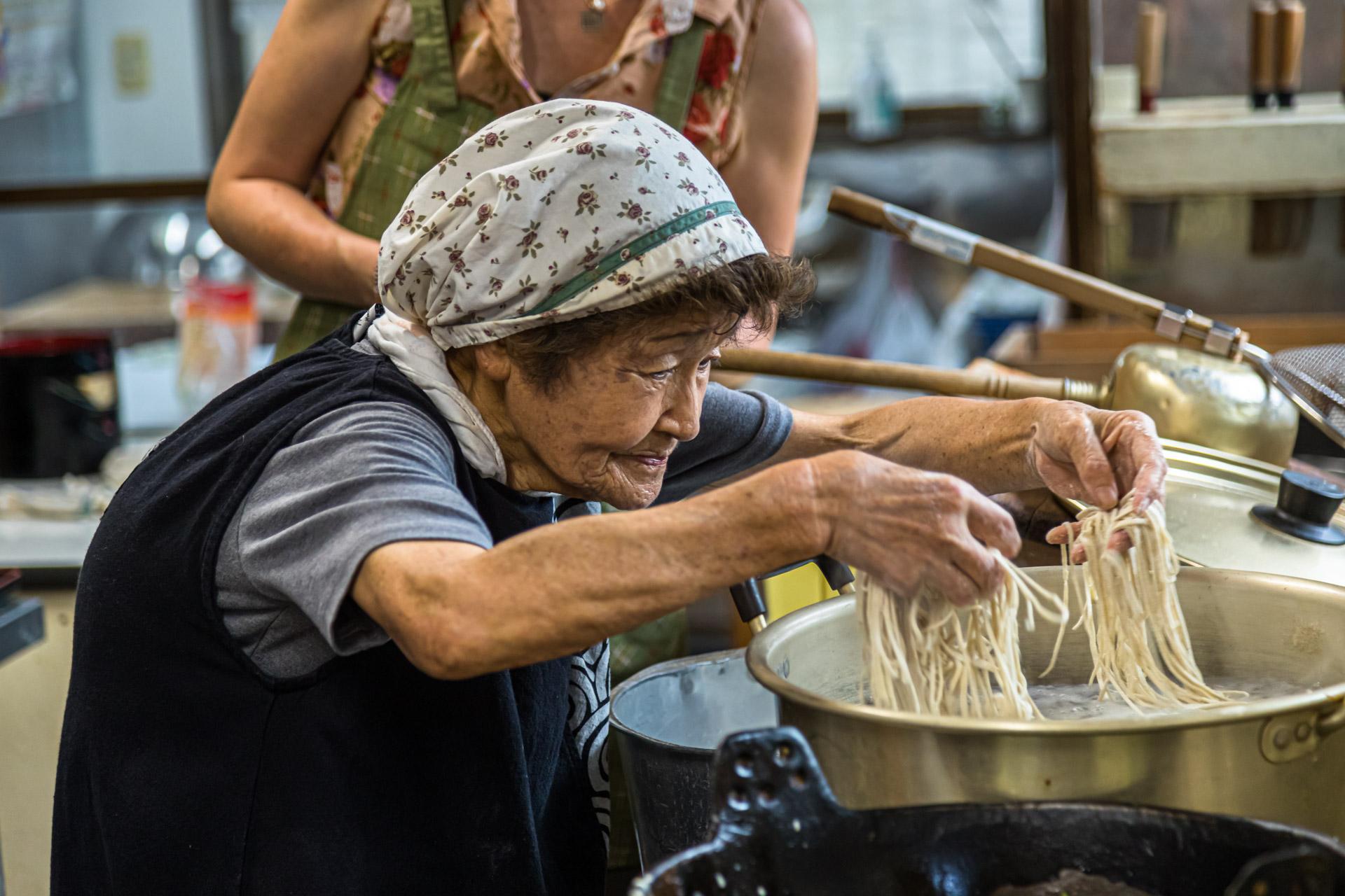 Soba Noodle Preparation in Fujinomiya, Japan
