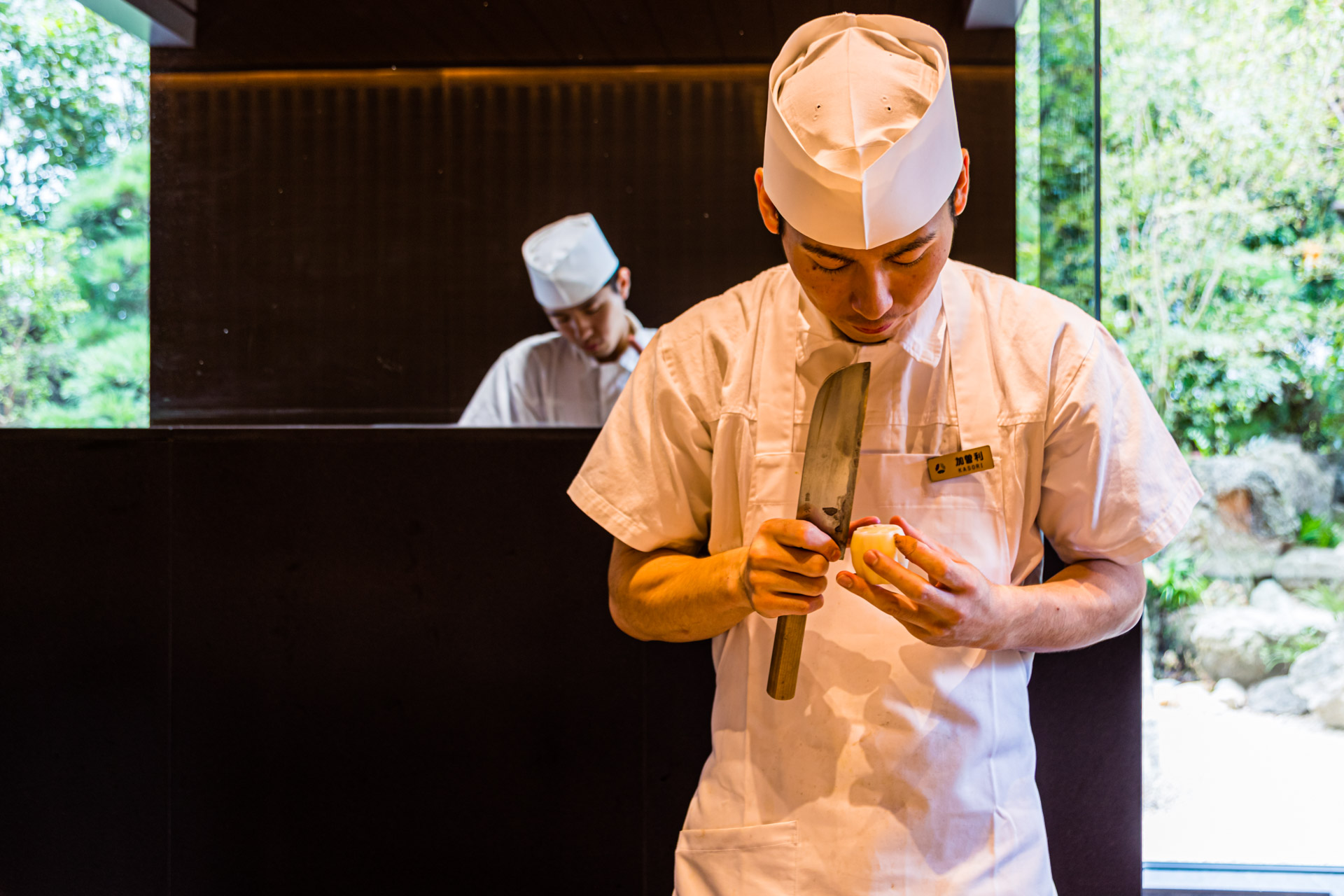 Chefs at the Okura Hotel in Tokyo preparing, Minato, Japan