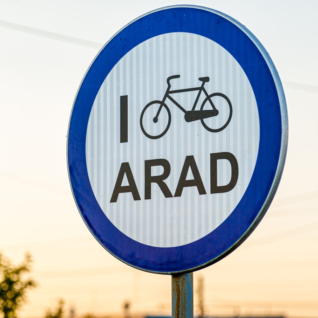 Bicycle sign in the Romanian city of Arad